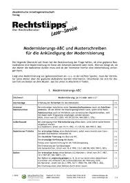 modernisierungs abc und musterschreiben für die