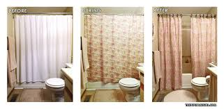 Apartment Budget Bathroom Makeover Before After Homemade Personalized Shower Curtain Panels Linen Vanity Sink Skirt Neutral