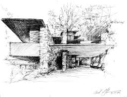 100 Frank Lloyd Wright Sketches For Sale Falling Water By Sketched By Frederick