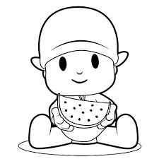 Pocoyo Comiendo Sandía Frequita Dibujo Para Imprimir Pintar