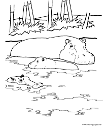 Hippo In The Water African Animal Sfc14 Coloring Pages Printable