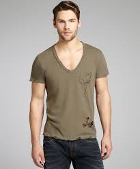 alternative apparel military cotton destroyed deep v neck t shirt