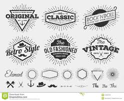 Monochrome Vintage Logo Badge Label For T Shirt Screen And Printing With Starburst Arrow Scissors Axe Anchor Ribbon Hat F