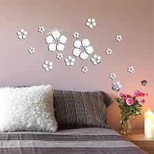 knupfer 18 stück 3d blumen wandtattoo wandsticker spiegel aufkleber wandaufkleber wanddeko für wohnzimmer kinderzimmer badezimmer kühlschrank