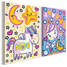 Cuadro Para Colorear Unicornios Buenos Días Y Buenas