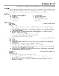 Chef Resume Objective From Work Experience Examples Fast Food Roho 4senses