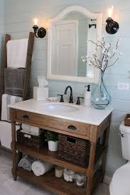Rustic Wood Bathroom Vanity With Open Shelving And A Drawer White Counter