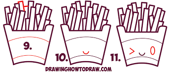 Learn How to Draw Cute Kawaii French Fries with Face on It Simple Steps Drawing