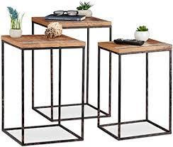 relaxdays beistelltisch 3er set mangoholz metall stilmix wohnzimmer satztische in versch größen braun schwarz holz h x b x t ca 55 5 x