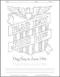 Flag Day Is June 14th Coloring Page With Handwriting Practice