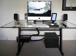Glass And Metal Corner Computer Desk White by Modern Glass Top Computer Desk Design With White Keyboard And