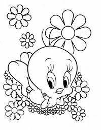 Baby Tweety Disney Flower Coloring Page