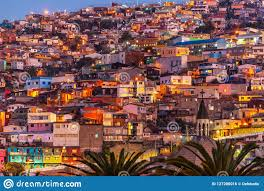 100 Houses In Chile Colorful Illuminated At Night On A Hill Of Valparaiso