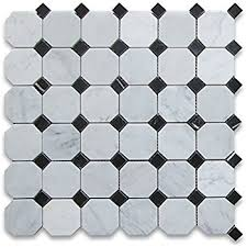 bianco carrara white marble honed octagon mosaic tile with black