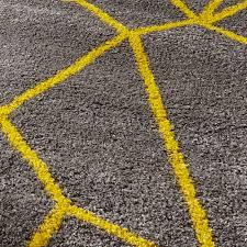 Grey Yellow Shaggy Pile Rug Royal Nomadic Geometric Design Modern