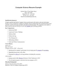 Resume For Graduate School Computer Science