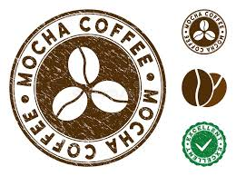 Mocha Coffee Brown Stamp Vector Seal Watermark Imitation With Grunge Texture And Color Round Rubber Design Of