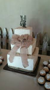 3 Tier Square Flush Rustic Wedding Cake With Twine Around Base Of Each And Burlap