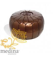 pouf design cuir marocain brun métallique un pouf entièrement en