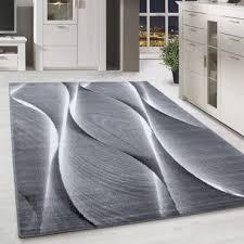 kurzflor teppich für wohnzimmer teppich läufer schatten muster grau schwarz mel