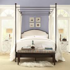Twin Metal Canopy Bed White With Curtains by Amazon Com Andover Cream White Curved Top Cherry Brown Metal