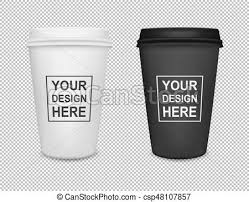 Realistic Blank Paper Coffee Cup Icon Set Isolated On Transparent Background Vector Design Template