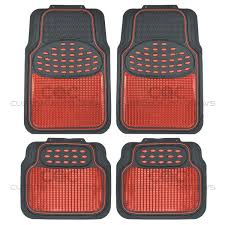 Metallic Rubber Floor Mats Red For Car SUV Truck Black Trim To Fit 4 ...
