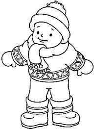Little Boy Wearing Winter Clothes Coloring Page