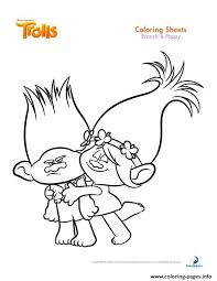 Print Branch And Poppy Trolls Coloring Pages