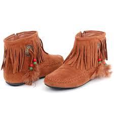womens fringe moccasins flat shoes zipper ankle boots faux suede
