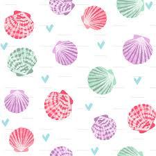 100 Sea Shell Design Seashells Fabric Girls Mermaid Sea Shell Design Pastel Pink