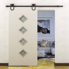 Amazon.com: HomCom Rustic 6' Interior Sliding Barn Door Kit ... Rolling Barn Doors Shop Stainless Glide 7875in Steel Interior Door Roller Kit Everbilt Sliding Hdware Tractor Supply National Decorative Small Ideas Sweet John Robinson House Decor Bypass Diy Tutorial Iu0027d Use Reclaimed Witherow Top Mount Inside Images Design Fniture Pocket Hinges Installation