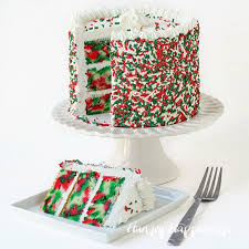 Three layer Tie Dye Christmas Cake Cut the first slice to reveal swirls of