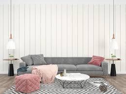 wohnzimmer innen graues sofa 1270006 stock foto