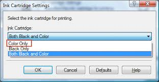 To Change Ink Cartridge Color Only Click The Drop Down And Select Option