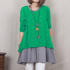 green two layers soft cotton skirt casual long skirt women spring