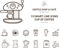 Coffee Shop Cafe Line Vector Art Illustration