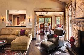 Impressive Living Room With Brick Wall Fireplace Rustic Home Decor Ideas Leather Couch Leg Rest Stand
