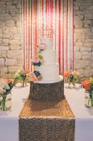Eclectic Colour Pop Barn Wedding Ribbon Backdrop Butter Cream Cake