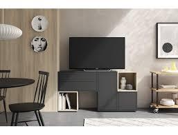 wohnzimmer set 150 cm dunkelgrau und eiche serie lisbona farbe eiche und grau