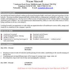 Bartender CV Example In Examples