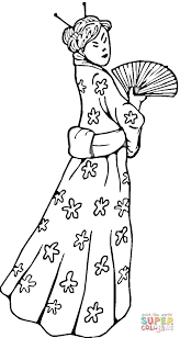 Click The Chinese Woman In A Traditional Dress Coloring Pages To View Printable