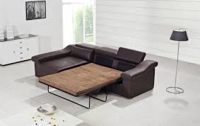 Modern Brown Leather Sofa w Pull Out Sofa Bed