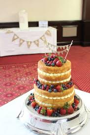 Rustic Naked Wedding Cake With Berries For Laura And Chris At Cedar Court Wakefield