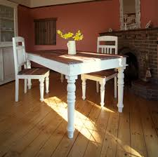Rustic Old Long Trestle Dining Table Painted With White Chalk Paint Color Made From Reclaimed Wood Chairs On Hardwood Floor Tiles Ideas