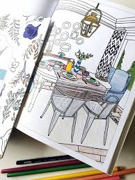 Home Decorating Adult Coloring Book