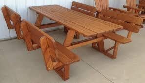 wood picnic tables amish yard