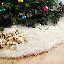 Fannybuy 48 Inch Christmas Tree Skirts Plush Faux Fur Handmade Skirt Decorations For Indoor Outdoor