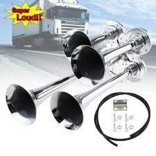 150DB 12V 24V Car Auto Truck Four 4 Trumpet Alloy Chrome Loud Train ... Tips On Where To Buy The Best Train Horn Kits Horns Information Truck Horn 12 And 24 Volt 2 Trumpet Air Loudest Kleinn 142db Air Compressor Kit230 Kit Kleinn Velo230 Fits 09 Hornblasters Hkc3228v Outlaw 228v Chrome 150db Air Horn Triple Tubes Loud Black For Car Universal 125db 12v Silver Trumpet Musical Dixie Duke Hazzard Trucks 155db 200psi Viair System Conductors Special How Install Bolton On A 2010 Silverado Ram1500230 Ram 1500 230 With 150psi Airchime K5 540
