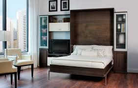 Rustic Wooden Fold Up Wall Bed Design With White Sheet Between Storage Aside Cream